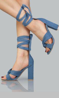 Denim Open Toe Lace Up Heels