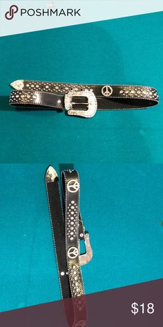 """Leather bling cowboy peace sign belt Gorgeous eye catching boutique belt. Size medium large approx 42"""".  🚫No trades ✅ Reasonable offers considered  🚭 Smoke free home Accessories Belts"""