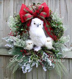 CUSTOM XL Snow Owl Family Winter Christmas Wreath, White owl, Rustic Woodland