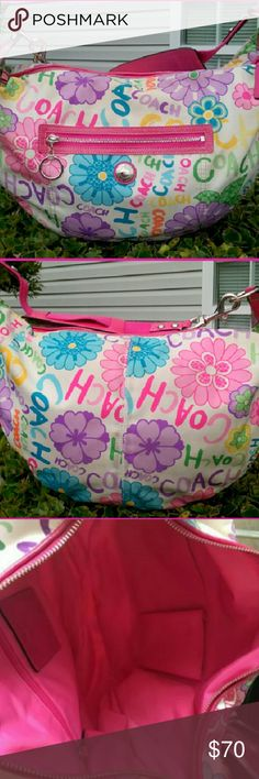 """COACH #F14885 Daisy Graffiti print hobo bag Coach #F14885 Daisy Graffiti signature print fabric hobo shoulder bag . Nylon fabric with pink leather trim. Includes pink leather embossed 'Coach' Charm. Exterior has light scuffs marks on fabric.  Several light ink marks interior.  Works great. Gorgeous bag!  L 15"""" H/D 9"""" W 3"""" Strap drop 9"""" Coach  Bags Shoulder Bags"""