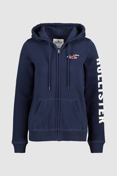 96cf64efe Womens Hollister Logo Zip Through Hoody - Blue Hollister Logo, Hooded  Jacket, Hoods,