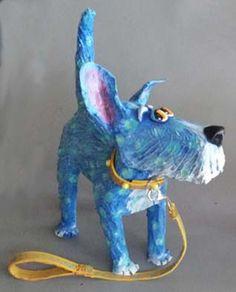 K-9's - Joyce Curvin Art Paper Mache Projects, Paper Mache Clay, Paper Mache Crafts, Paper Mache Sculpture, Dog Sculpture, Art Projects, African Sculptures, Animal Sculptures, Paper Mache Animals