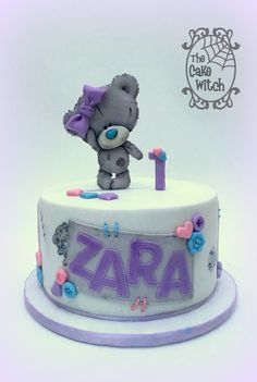 Tatty Teddy / Teddy Bear Birthday Cake Pink, Blue, Lilac and Buttons