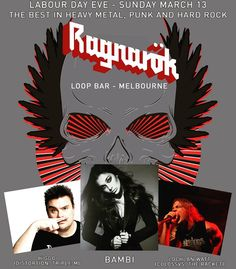Ragnarök returns to Loop Bar in Melbourne this Labour Day Eve. Playing the latest and greatest in heavy metal punk and hard rock.  Headbang with DJs Higgo (Distortion Triple M) Lochlan Watt (The Racket Colossvs) and Bambi.  Tunes begin at 9pm. Entry is free. Drink specials all night.  Come party!  #ragnarokmelbourne #nightclub #freeentry #heavymetal #punk #alternativemusic #hardrock #melbourne #labourdayeve #loopbar #2016 #metallica #pantera #slipknot #rammstein #dio #blacksabbath #kiss…
