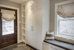 Entry Closet Design, Pictures, Remodel, Decor and Ideas - page 5 Gray Painted Walls, Grey Walls, Entry Closet, Garage Entry, Built In Cabinets, White Cabinets, Interior Decorating, Interior Design, Laundry Room Design