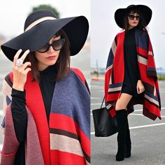 Prada Sunnies, Persunmall Knee High Boots, Givenchy Bag, Sheinside Dress, Ozz hats Hat, H&M Ring, Koton Poncho