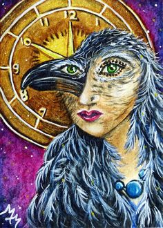 ACEO Original Bird TIME TRANSFORM Crow Raven Woman Clock Mask Surreal Painting #Surrealism