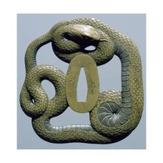 Giclee Print: Brass Tsuba, Engraved, Pierced and Damascened, Depicting Snake Coiled around Itself, Japan : 16x16in