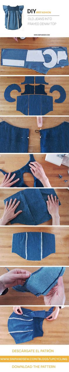 DIY/REFASHION- Upcycle an old pair of jeans into a Frayed Denim Top with Ruffles. FREE PATTERN (size 2-7)(Diy Ropa)