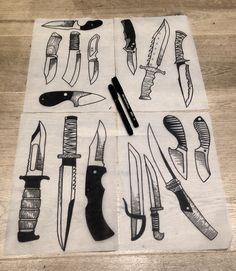 Drew a load of knives tonight , would love to tattoo them. If you wanna get stabby email graceneutral@gmail.com ⚔