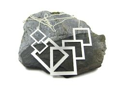 Silver Geometric Necklace, Long Statement Necklace, Large Pendant Necklace, Geometric Jewelry, Squares Necklace, Bold Necklace, Bohemian