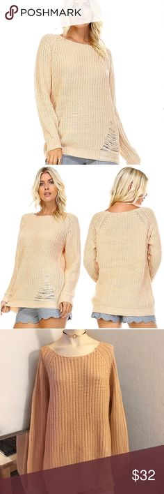 """🎊NEW ARRIVAL🎊 Taupe Ripped Sweater •Ribbed Texture •Torn Accent •Made In USA  The price is firm on all item unless the item says """"open to offers."""" everything comes straight from my boutique so I'm not able to go lower on certain item. All items in my closet are brand-new and have never been worn by anyone. You can also check out my website at www.westcoasturbanstyles.com 💕 if you have any questions please feel free to ask ❤️ West Coast Urban Styles Sweaters Crew & Scoop Necks"""