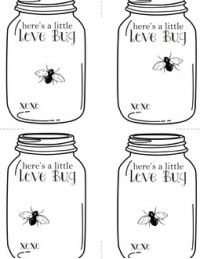 """Valentine's Love Bug Cards - Free printable Empty jar - ready to """"fill"""" as you wish - tape on a fake rubber bug or felt hearts... it's up to you! brought to you by lola decor & FYLM FREE!"""