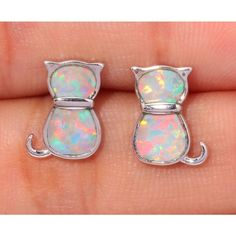 WHITE FIRE OPAL SILVER EARRINGS WHOLESALE RETAIL CUT CAT FASHION PARTY FOR WOMEN JEWELRY STUD EARRINGS 11MM OH2995