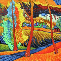THis is by Diane Bolinger in the fauvist style of ~ André Derain was a French artist, painter, sculptor and co-founder of Fauvism with Henri Matisse. Andre Derain, Art Fauvisme, Fauvism Art, Henri Matisse, Raoul Dufy, Mark Rothko, Landscape Art, Landscape Paintings, Landscapes