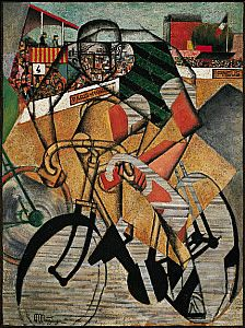 At the Cycle-Race Track (Au Vélodrome), 1912. Oil and collage on canvas, 51 3/8 x 38 1/4 inches (130.4 x 97.1 cm). The Solomon R. Guggenheim Foundation,Peggy Guggenheim Collection, Venice  76.2553.18. © 2012 Artists Rights Society (ARS), New York/ADAGP, Paris