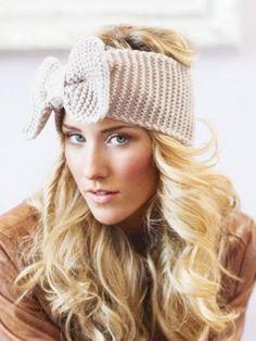 Shop Beige Bowknot Knit Headband from choies.com .Free shipping Worldwide.$8.79