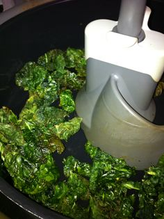 Actifry Crispy Kale or Swiss Chard - Wash and cut into 2 inch squares fill pan.  Add one spoon oil or bacon grease for a treat!  Cook 10 -15 min.   Check every 5 min and break up any clumps!