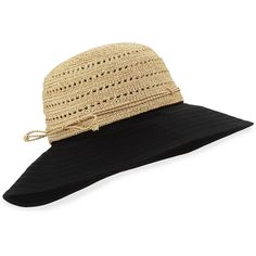 Helen Kaminski Kessy 10 Raffia Sun Hat (€170) ❤ liked on Polyvore featuring accessories, hats, crochet brim hat, roll up hat, helen kaminski, helen kaminski hats and brimmed hat