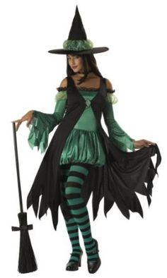 California Costumes Women's Emerald Witch Costume.  $49.99            Costume includes: bubble dress, overdress with broach, hat and tights