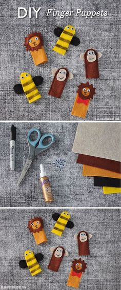 DIY Finger Puppets | Creative DIY Activities for Kids by DIY Ready at www.diyready.com/diy-kids-crafts-you-can-make-in-under-an-hour/
