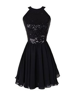 Dressystar Formal's Dresses Black Knee Length Sequined Chiffon Gowns