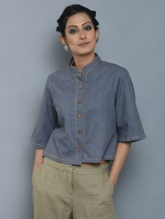 Grey Khadi Kantha Shirt in 2020 Short Kurti Designs, Salwar Designs, Stylish Outfits, Cool Outfits, Kurti Embroidery Design, Tunic Designs, Indian Designer Outfits, Simple Shirts, Young Fashion