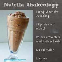 Getting bored with my shakes and was craving NutellaNutella Shakeology. Getting bored with my shakes and was craving Nutella 310 Shake Recipes, Protein Shake Recipes, Healthy Recipes, Smoothie Recipes, Protein Shakes, Milkshake Recipes, Milkshake Bar, Healthy Breakfasts, Healthy Meals