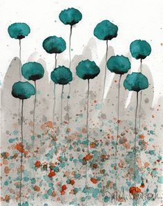 Mister Muscle -- Teal Flowers -- Giclee Print 8x10. $20.00, via Etsy.