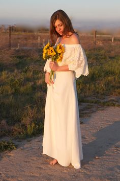 Unique Wedding Dresses Lace Ivory White Off The Shoulder 70s Bohemian Hippie Wedding Gown Vintage - Luna. $650.00, via Etsy.