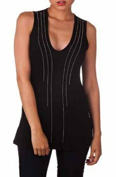 Tank W/ Stud Detail Spring 2014, March, Detail, Black, Dresses, Fashion, Vestidos, Moda, Black People