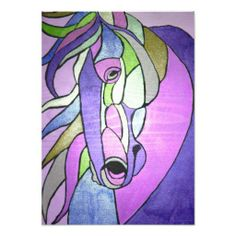 Metallic Horse in Purple Print