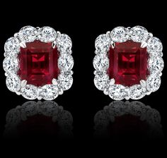 Carré cut, 3.31 carat ruby, diamond and platinum earrings. Royal Cluster Collections Garrard