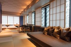 For a city like Tokyo, guest rooms are enormous - this is only about half of a larger room. Photo: Hoshino Resorts