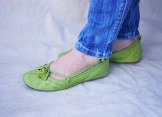 Green Alert Handmade Leather ballet flat door TheDrifterLeather