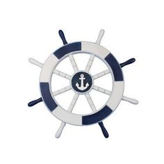 "Handcrafted Nautical Decor Ship 18"" White Decorative Ship Wheel with Anchor Wall Décor & Reviews 