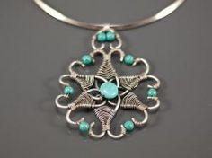 turquoise wire-wrapped pendant by aline
