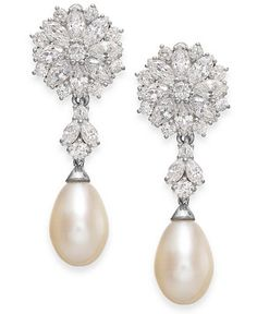 Arabella Cultured Freshwater Pearl and Swarovski Zirconia Drop Earrings in Sterling Silver (8mm) - Earrings - Jewelry & Watches - Macy's