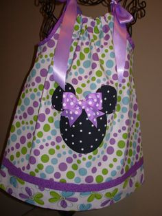 Minnie Mouse Pillowcase Dress Purple Polka Dots extra by STLGIRL Like the material (Hobby Lobby) but hot with Mickey/Minnie