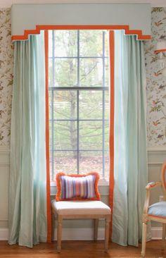 Modern cornice board pale blue silk with orange trim One Room Challenge - Dining Room Reveal Stephanie Kraus Designs