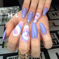 you looking for coffin acrylic summer nail designs? See our collection full of coffin acrylic nail designs for summer and get inspired! Trendy Nails, Cute Nails, My Nails, Tie Die Nails, Opi, Nailart, Tie Dye, Pastel Nails, Simple Nail Designs