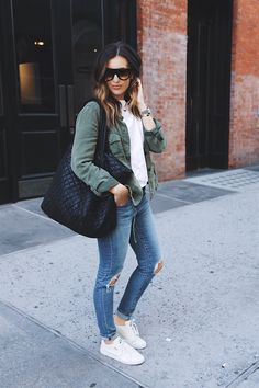 Weekend street style using the MZ Wallace quilted Large Metro Tote.