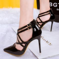 Black or Metallic-Colored Stiletto Fashion Pumps with Zippered-Heel