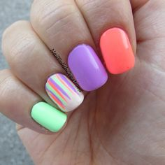 "Nail Polish Creations: Wanderlust Waterfall -- i really love this look. pretty simple way to take ""skittle"" nails to the next level."