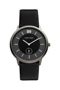 Danish Design IQ12Q958 Titanium Case Black and Gray Dial Leather Band Mens Watch