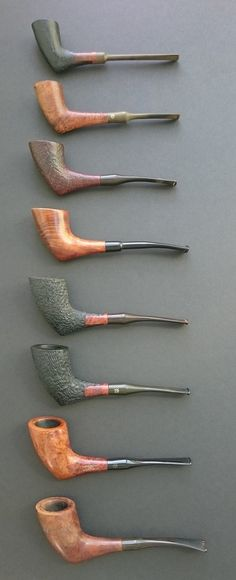Danish Kriswill pipe line-up, in various conditions of rehabilitation.