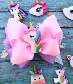 Making Hair Bows, Diy Hair Bows, Diy Bow, Hair Ribbons, Ribbon Bows, Diy Ribbon, Unicorn Hair, Unicorn Party, Barrettes