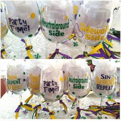 Check out this item in my Etsy shop https://www.etsy.com/listing/208635562/mardi-gras-wine-glasses-wvinyl-new