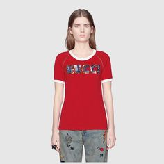 3a39caf2e42 Shop the T-shirt with Gucci appliqué by Gucci. The Gucci logo is  reintroduced