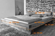 In a bed of 200 × 200 cm, both partners have plenty of space to sleep at night and. Wood Bedroom, Bedroom Furniture, Home Furniture, Bedroom Decor, Wooden Pallet Furniture, Solid Wood Furniture, Plataform Bed, Diy Platform Bed, Diy Bed Frame